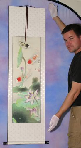 Gary holds a nice Asian koi fish art wall scroll